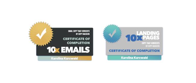 Copy Hackers badges